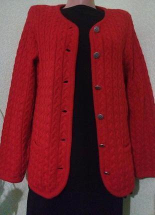 Яркий красный кардиган жакет кофта большого размера🌿50% шерсть...