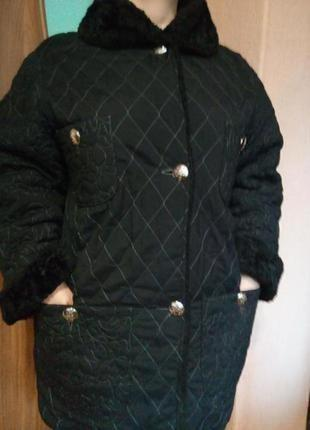 Теплое стеганое пальто/удлиненная куртка большого размера