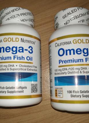 Омега-3, рыбий жир премиального качества, 100капсул из рыбьего ж