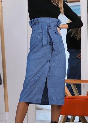 Юбка миди на высокой посадке на пуговицы джинсовая