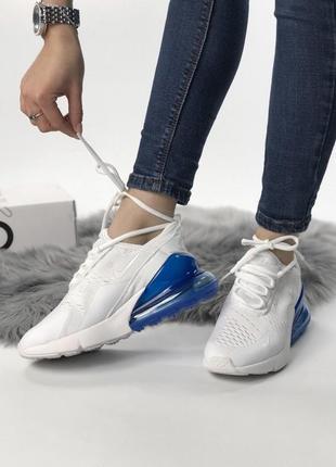 📍акция📍nike air max 270 white blue, женские летние белые кросс...