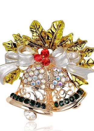 Брошь унисекс бижутерия с кристаллами новогодние колокольчики ...