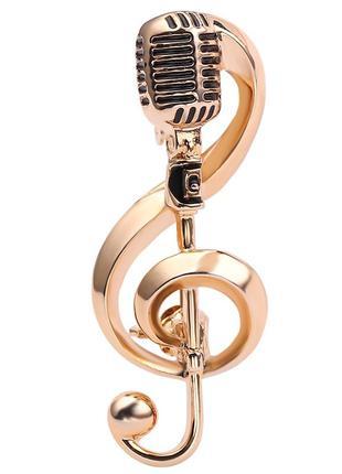 Брошь-кулон скрипичный ключ микрофон золотистая brbf111493 (уц...