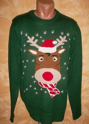 Мужской свитер с оленем на рост 180-190 см. идеальное состояние