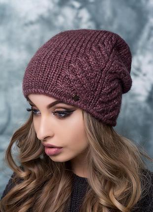 Женская шапка вязаная цвет лиловый внутри флис