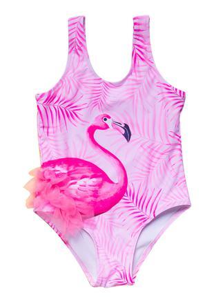 Сдельный купальник для девочки с фламинго
