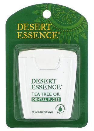 Desert Essence, Зубная нить с маслом чайного дерева, вощеная, США