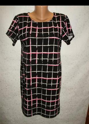 Стрейчевое платье принт крупная клетка 16/50-52 размера