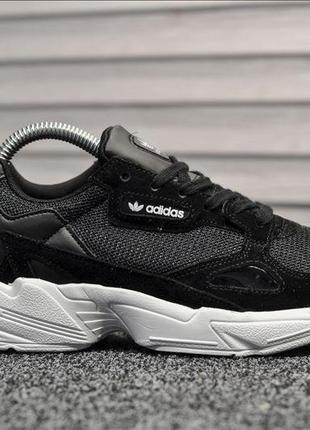 Женские кроссовки adidas falcon (черно/белые) #адидас