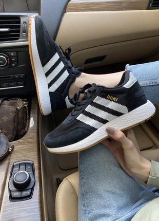 Женские кроссовки adidas iniki {черно/белые}  #адидас