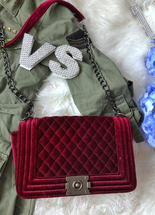 Шикарная бордовая бархатная сумка в стиле chanel