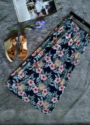 Красивая макси юбка в пол на резинке, цветочный принт, ананаси...