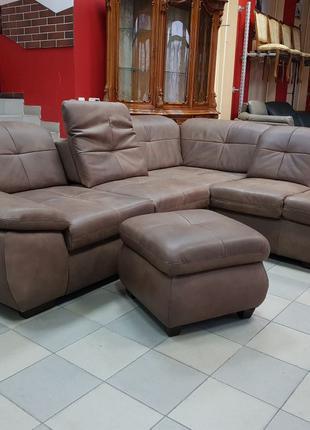 Новый кожаный угловой диван, пуф, мягкая мебель Германии