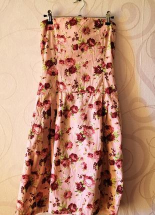 Платье-бандо с розами, коттон