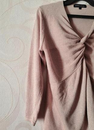 Розовый свитер, большой размер