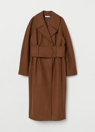 Пальто из смесовой шерсти h&m premium quality