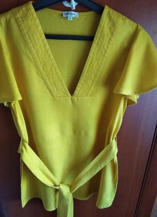Шикарная блуза/туника красивого горчичного цвета