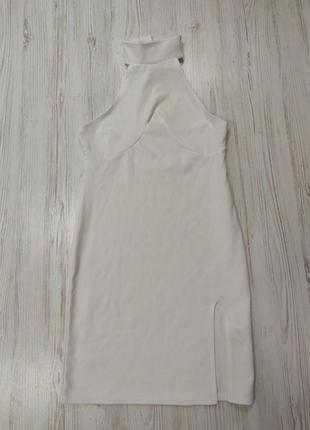 Ликвидация товара 🔥  белое мини платье в рубчик с воротником и...