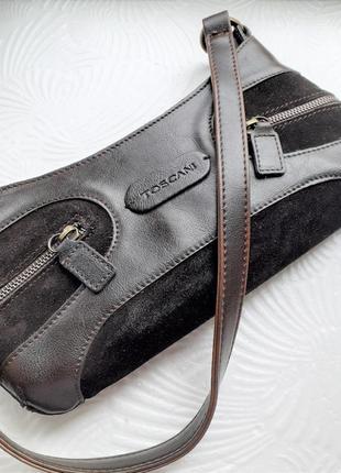 Женская коричневая сумка-седло с короткой ручкой винтаж
