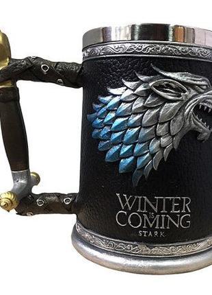 Кружка Бокал Волк Игра Престолов Winter is Coming Stark Targar...