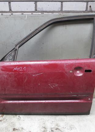 Дверь перед L (красная) Audi 100 C3 (82-91)