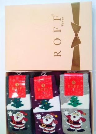 Носки женские махровые новогодние подарочный бокс набор из 6 п...