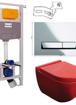 УНИТАЗ NEWARC (3823B) красный +инсталяция Imprese i8120