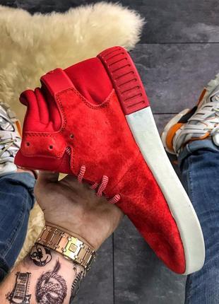Adidas tubular invader red white, мужские/женские красные  кро...