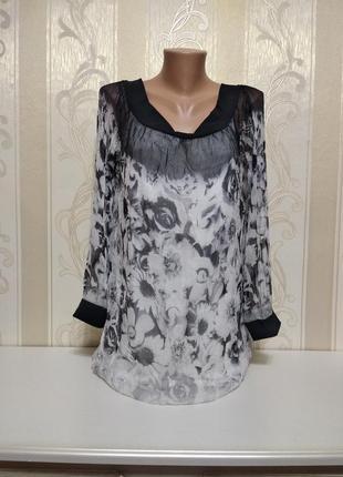 Шелковая блуза на подкладке, 100% шелк.