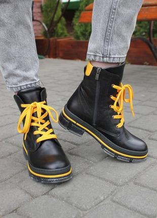 Стильные ботинки осень-весна с натуральной кожи и жёлтыми шнур...