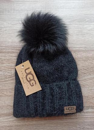 Шапка ugg, черна шапка ангора