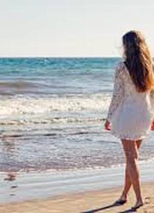 Белая пляжная туника с длинным рукавом хлопок