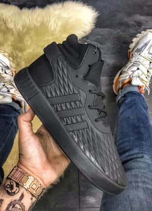 Мужские adidas tubular invader black metric, чёрные кроссовки ...