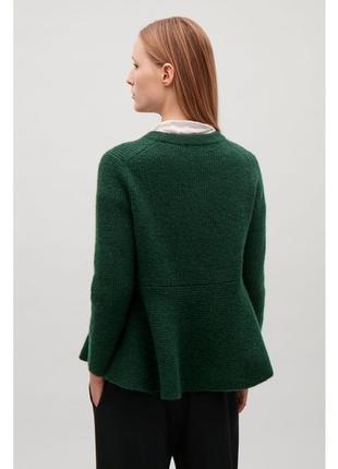 Cos шерстяной изумрудный свитер, джемпер, кофта с баской