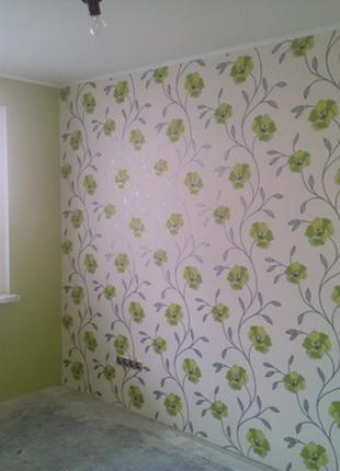 Поклейка обоев, покраска стен.