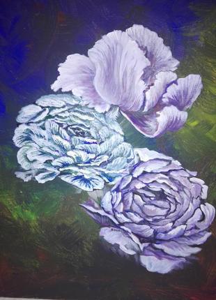 Картина, цветы смешанная техника