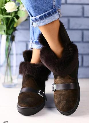 Lux обувь! женские  стильные натуральные тёплые угги с ремнями