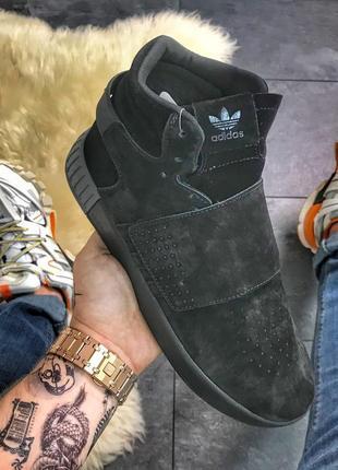 Adidas tubular invader suede snap full black, мужские хайтопы ...