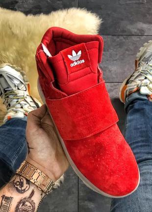 Adidas tubular invader red white, мужские замшевые красные кро...