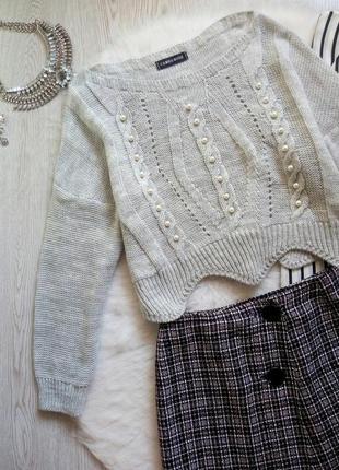 Серый короткийц вязаный свитер кроп с бусинами жемчугом кофта ...