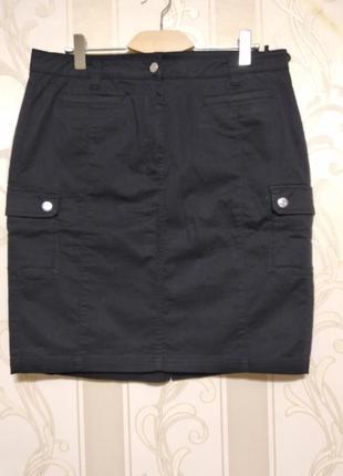 Юбка карандаш , джинсовая , черный котон,