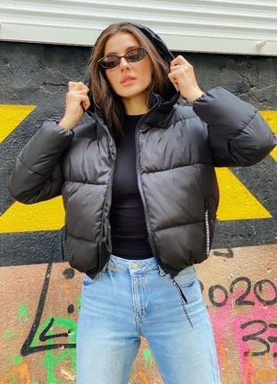Шикарная черная зимняя куртка