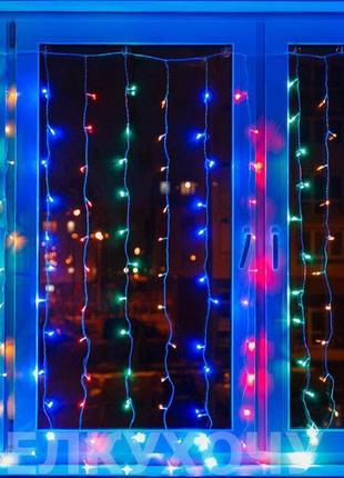 Гирлянда штора Уличная Занавес, curtain 2mх2m, 180 LED, цветная 1