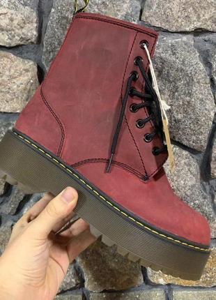 Женские зимние кожаные ботинки/ сапоги dr. martens bordo fur н...