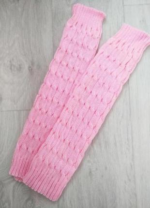 Взрослые вязаные тёплые гетры розовый