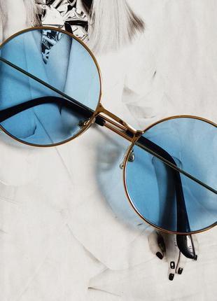 Круглые цветные очки тишейды голубой в золоте