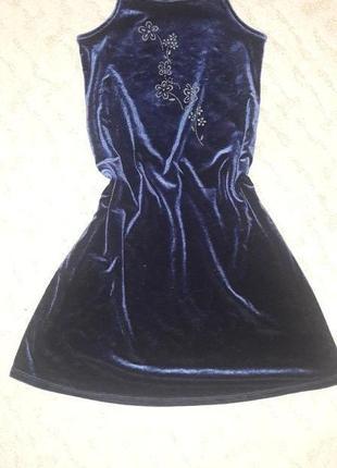 Платье - майка для девочки синее велюр  на 6 лет