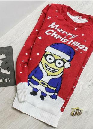 """Новогодний, зимний свитер """"миньон счастливого рождества. merry..."""