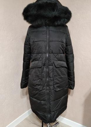 Зимнее пальто-одеяло с натуральным мехом р 44