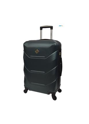 Дорожня валіза на колесах маленька смарагдова